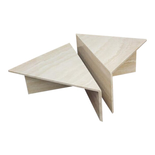 Post-Modern Italian Travertine Coffee Table - 2 Pieces For Sale
