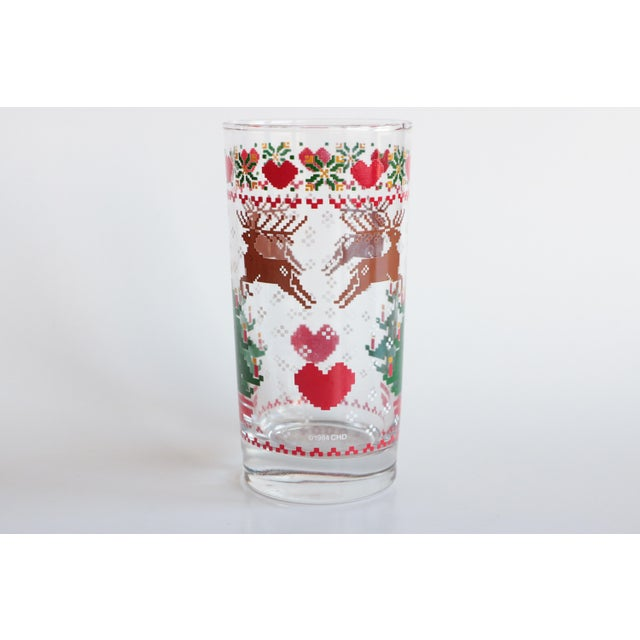 8-Bit Pixel Style Christmas Glasses - Set of 4 For Sale - Image 4 of 5