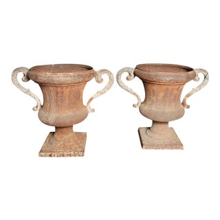 Large French Iron Urns, Circa 1860 - A Pair For Sale