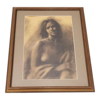 Graphite Portrait of Beautiful Young Woman by R.G. Smith For Sale