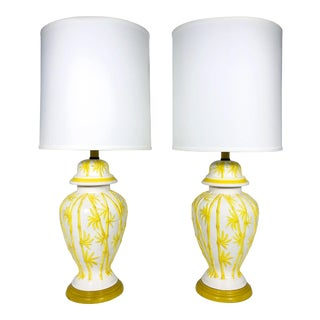 1960s Regency Yellow Faux Bamboo Ginger Jar Lamps - a Pair For Sale