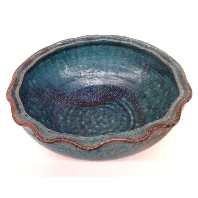 Minimalism Artisan Glazed Decorative Serving Bowl For Sale - Image 3 of 10