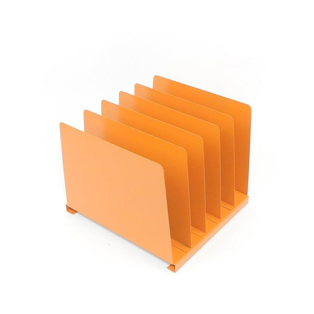 Orange Wooden Desk Organizer - Vinyl Record Rack - Image 10 of 10