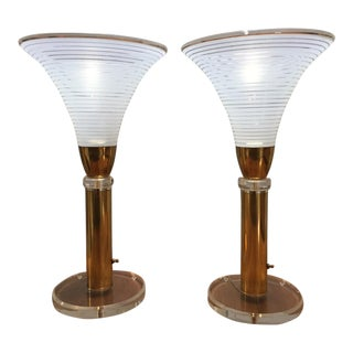 Karl Springer Hollywood Regency Brass Lucite Murano Glass Torchiere Lamps - a Pair For Sale
