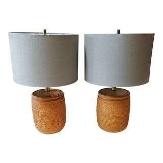 1960s Mid-Century Modern Earthenware Pottery Lamps - a Pair For Sale