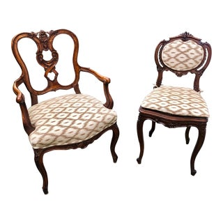 19th Century Louis XV Style Chairs in New Schumacher Fabric -- a Pair For Sale