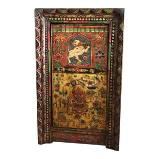 Painted Tibetan Cabinet With Snow Lion For Sale