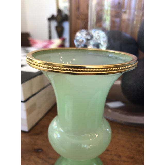 Traditional Green Opaline Glass Vase For Sale - Image 3 of 6