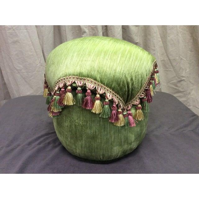 Green Velvet Tassel Ottoman For Sale - Image 4 of 7