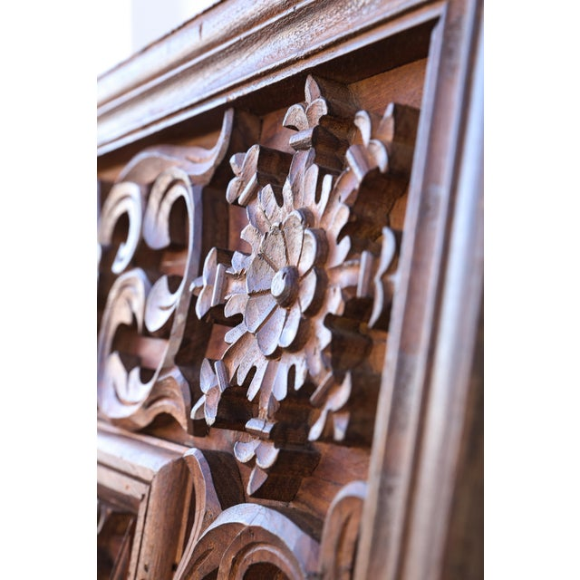 Copper 1880s Carved Solid Teak Wood Ceiling From Temple in Deccan For Sale - Image 8 of 11