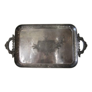 Vintage 19th Century Silver Plate Presentation Tray For Sale