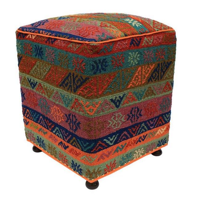 Orange Boho Chic Hahn Orange/Green Handmade Soumakh Upholstered Ottoman For Sale - Image 8 of 8