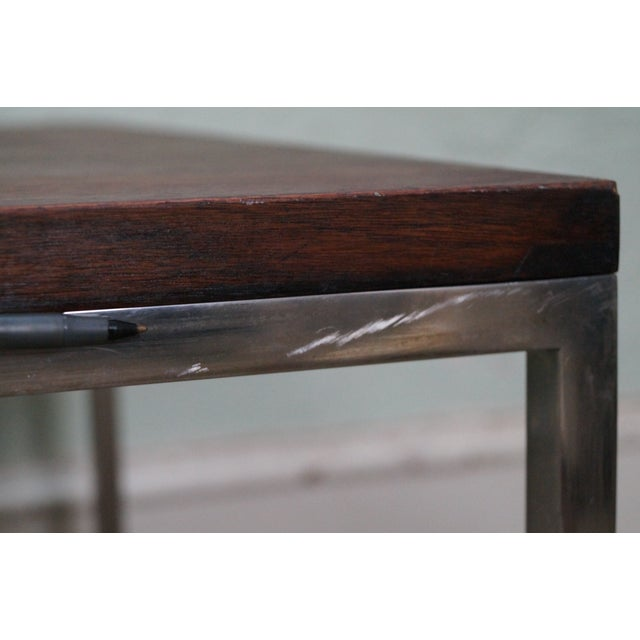 Mid-Century Square Chrome Rosewood Side Table - Image 10 of 10
