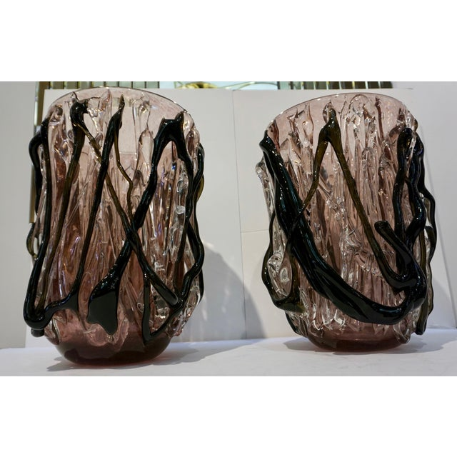 Abstract Costantini Italian Black Amethyst Clear Murano Glass Vases - a Pair For Sale - Image 3 of 13