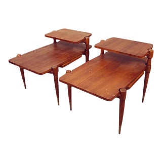 Mid Century Danish Teak Two Tiers End Tables Pair For Sale
