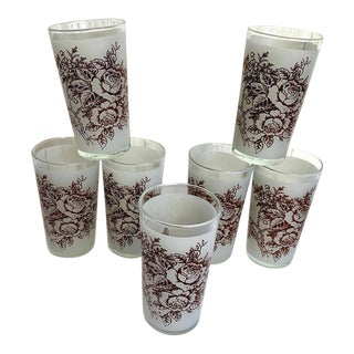 Mid-Century Modern Brown Transferware Rose Frosted Drinking Glasses - Set of 7 For Sale
