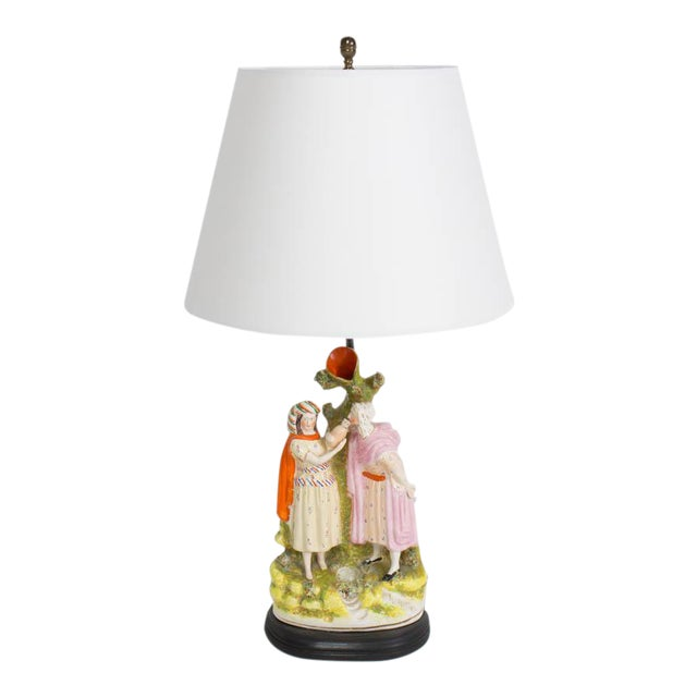 Restored Staffordshire Rebekah and Abraham's Servants Table Lamp For Sale