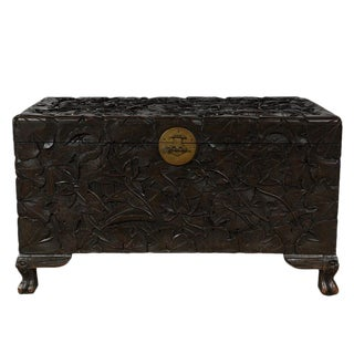 Early 20th Century Antique Chinese Carved Hope Chest For Sale