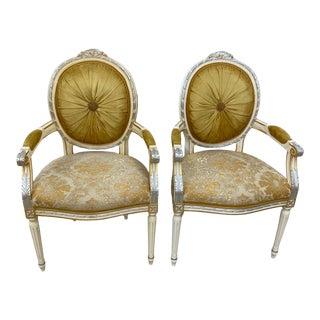 100% Made in Italy 19th Century Reproduction Italian Dining Armchairs - a Pair, Part of the Sky Collection For Sale