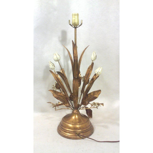 Italian Gilt Tole Lamp With Daisies and Tulips - Image 6 of 6