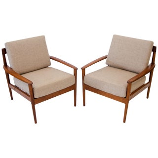 Pair of Danish Teak Lounge Chairs, Grete Jalk For Sale