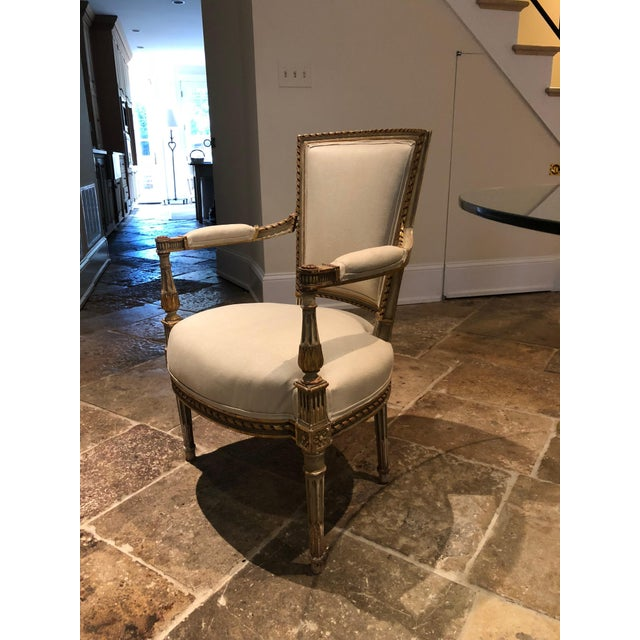 Painted and Gilt Napoleon III Fauteuils - Set of 4 For Sale - Image 4 of 13
