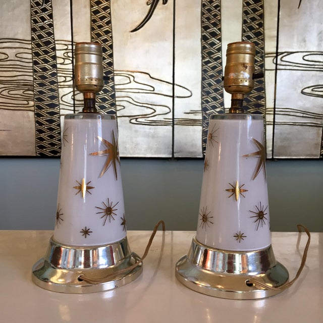 Mid-Century Modern 1950s Celestial Glass Lamps- a Pair For Sale - Image 3 of 10