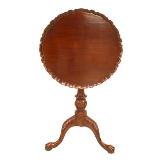 English Georgian Mahogany Scalloped End Table For Sale