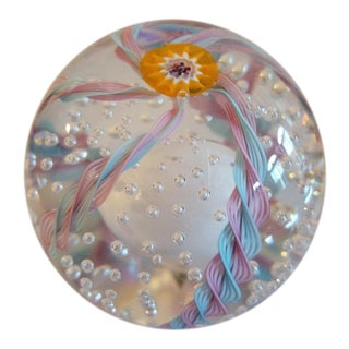 Orange Millefiori Flower Murano Glass Paperweight