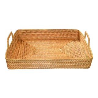 Cottage Style Rattan Woven Large Handled Tray For Sale