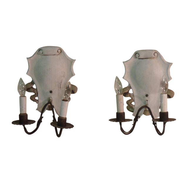 Italian Iron & Painted White Wood Sconces - A Pair - Image 1 of 6