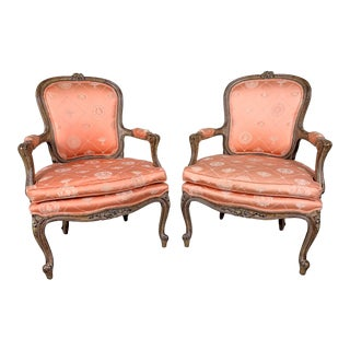 Vintage Louis XV Fauteuil Open Arm Chairs - A Pair For Sale