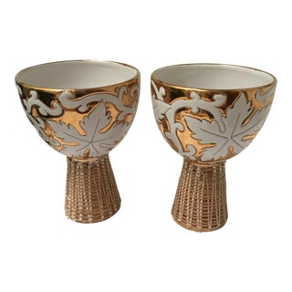 Italian Ceramic Hollywood Regency Compotes - A Pair