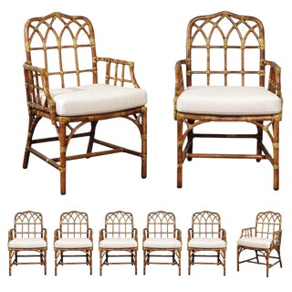 Set of Eight 1970s Cathedral Back Arm Dining Chairs by McGuire