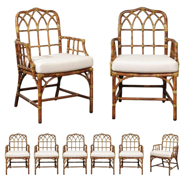 Set of Eight 1970s Cathedral Back Arm Dining Chairs by McGuire For Sale