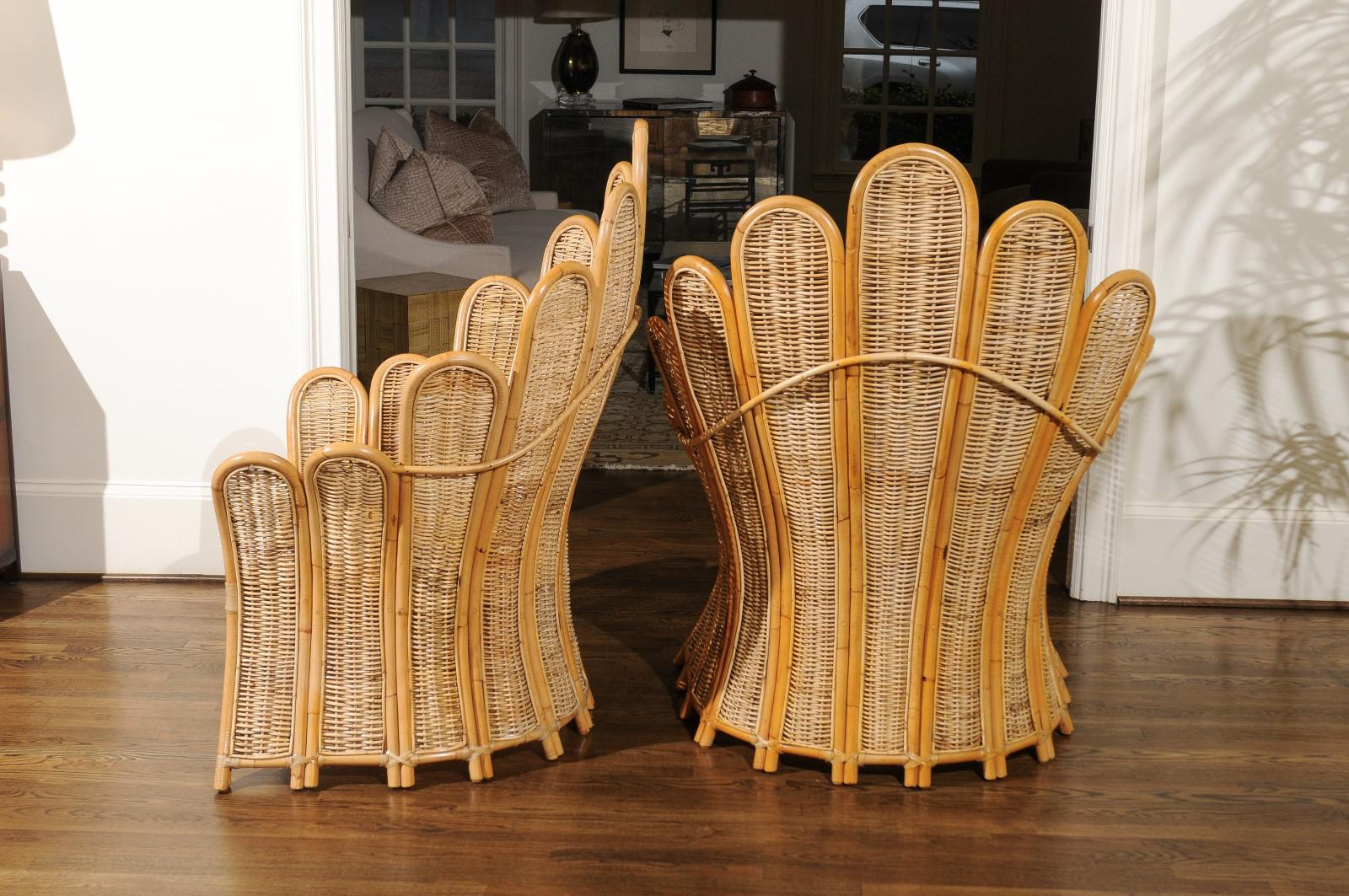Majestic Restored Pair Of Vintage Rattan And Wicker Palm Frond Club Chairs    Image 2 Of