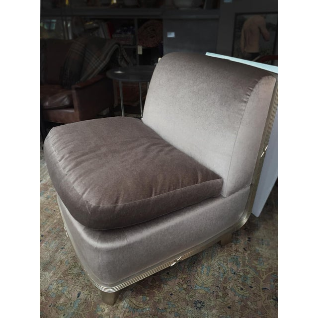 Wood 1960s Silver Mohair Lounge Chair in the Style of James Mont For Sale - Image 7 of 13