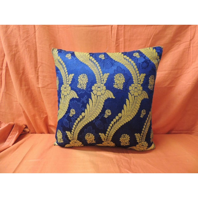 19th Century French Silk Brocade Royal Blue Square Decorative Pillow. Gold scrolling vines and flowers are embroidered...