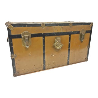 Vintage Industrial Brown Steamer Trunk With Tray For Sale