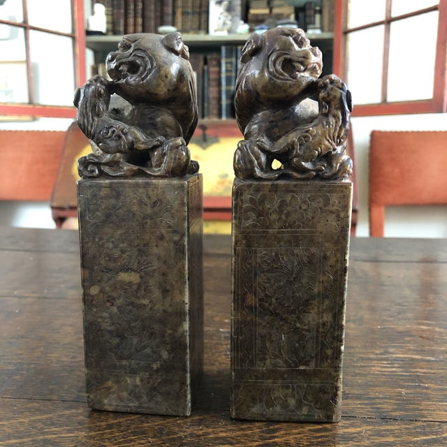 19th Century Hand Carved Brown Shoushan Soapstone Chinese Chop Seals - a Pair For Sale - Image 13 of 13