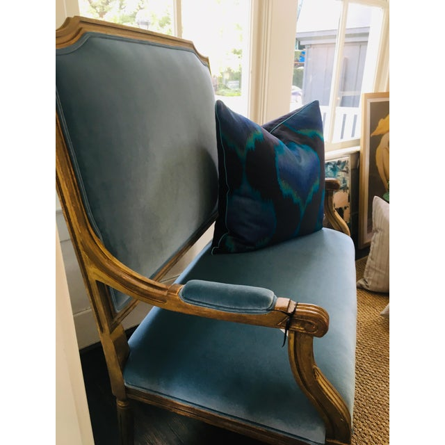 Beautiful vintage French settee in a teal/sky blue Versailles velvet. Sturdy enough for two.