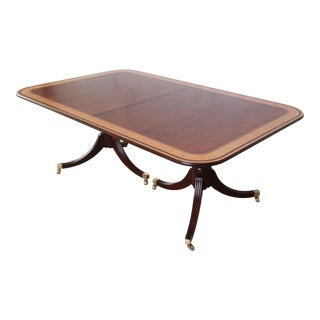 Baker Furniture Stately Homes Inlaid and Banded Georgian Extension Dining Table For Sale