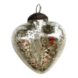 Antique German Mercury Glass Heart Holiday Christmas Ornament For Sale