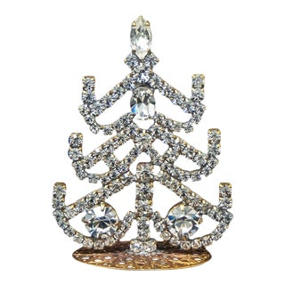 Small Czech Crystal and Rhinestone Table Top Mantle Christmas Tree For Sale