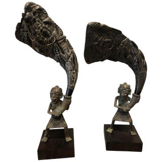 African Bronze Bamileke Cameroon Statues-a Pair For Sale