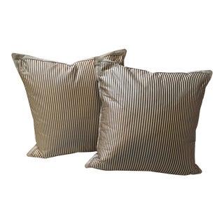 Silk Striped Gray Pillows - A Pair
