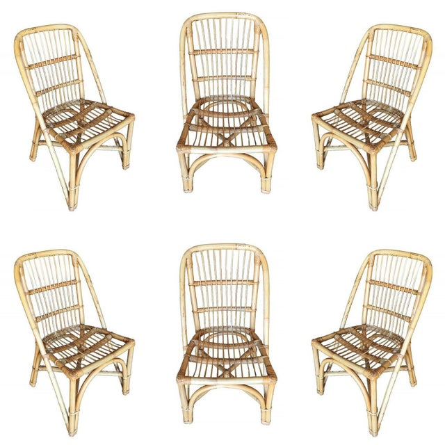 Wood Restored Mid-Century Rattan Dining Side Chair W/ Stick Rattan Seat, Set of Six For Sale - Image 7 of 7