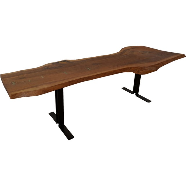 Massive Dining Table - Modern Solid Oak Live Edge Slab Conference Table For Sale - Image 11 of 11