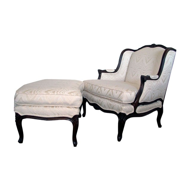 Bergere Chair & Ottoman in Off-White Damask - Image 1 of 6