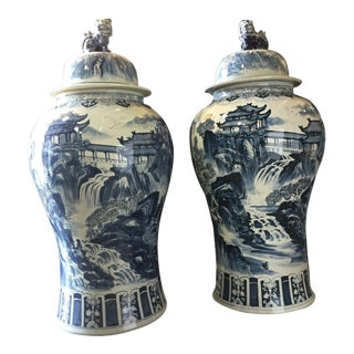 "Mansion Size Chinoiserie B & W Porcelain Ginger Jars47"" H - a Pair For Sale"